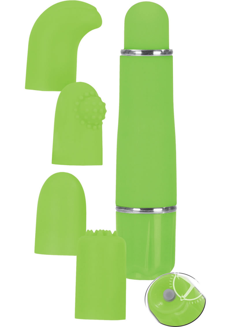 Love Vibe Number 9 Velvet Cote Massager With Interchangeable Tips Green